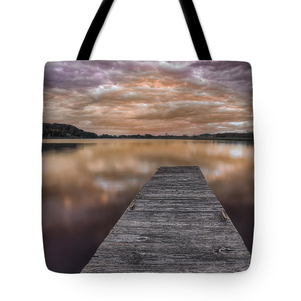 Lake White Twilight Tote Bag