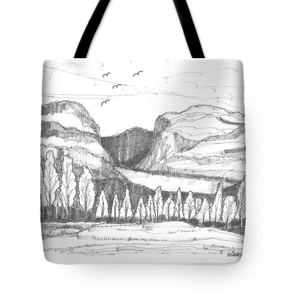 Tote Bag featuring the drawing Lake Willoughby Vermont by Richard Wambach