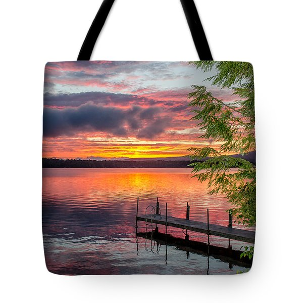 Lake Winnisquam Sunrise 2 Tote Bag by Mike Ste Marie
