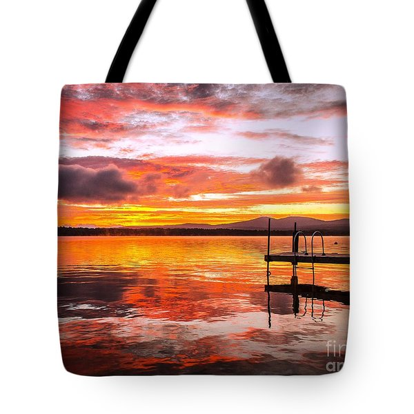 Lake Winnisquam Sunrise Tote Bag by Mike Ste Marie