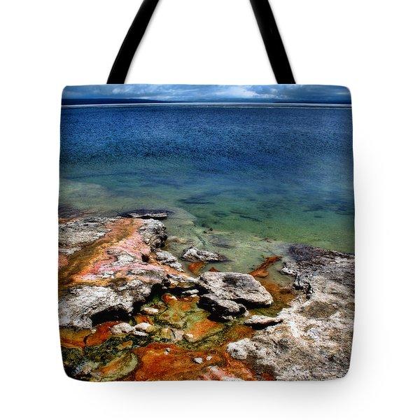 Lake Yellowstone Tote Bag by Ellen Heaverlo