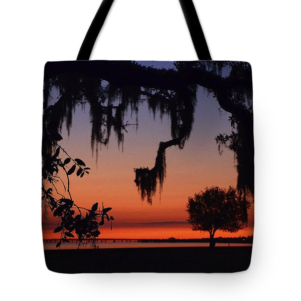 Lakefront Sunset Tote Bag by Charlotte Schafer