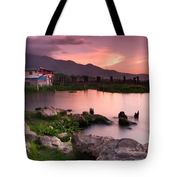 Lakeside Shanty At Dusk Tote Bag
