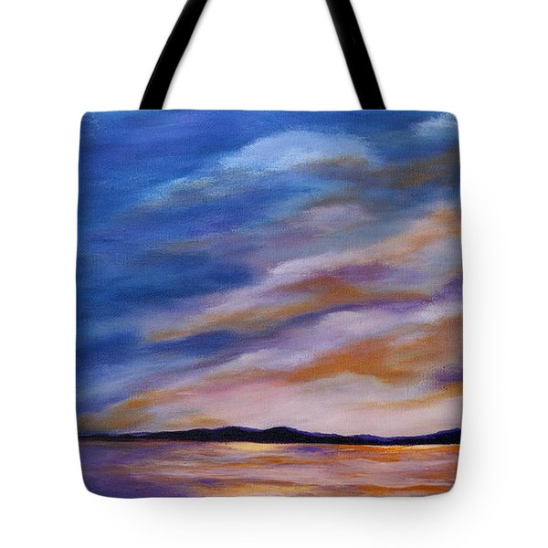 Tote Bag featuring the painting Lakeside Sunset by Michelle Joseph-Long