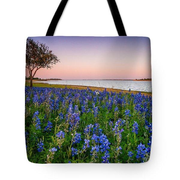 Lakeside Texas Bluebonnets - Wildflower Field In Lake Somerville Tote Bag