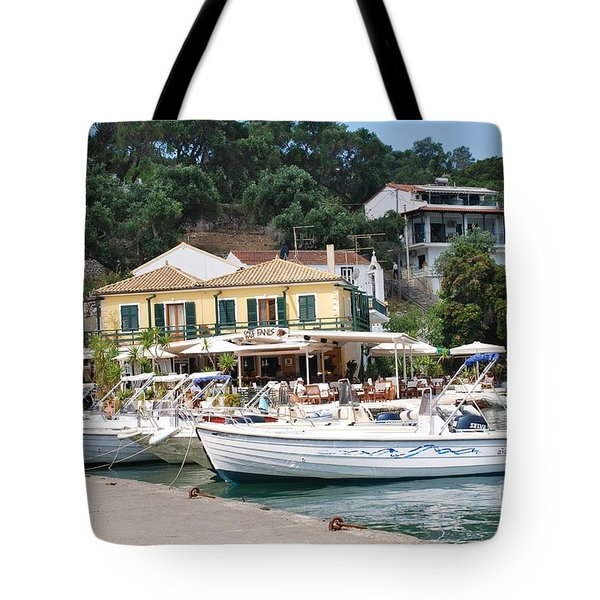Lakka Harbour On Paxos Tote Bag
