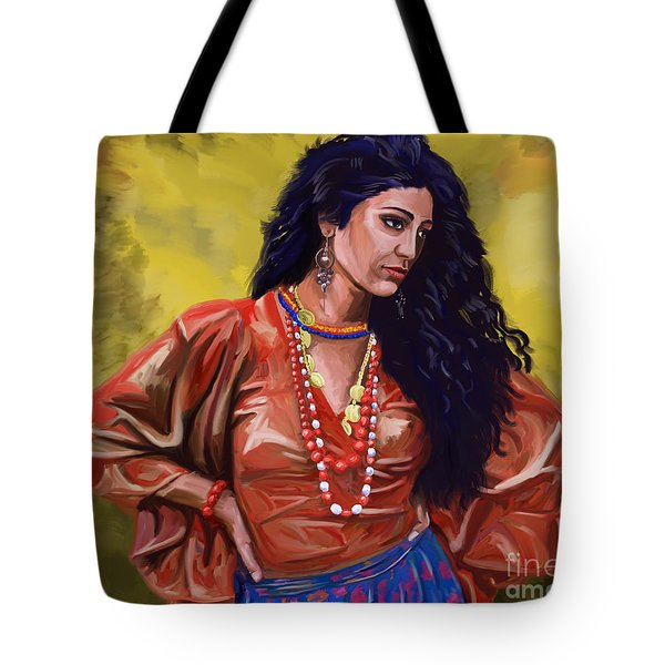 Tote Bag featuring the painting Lala Gypsy Girl by Tim Gilliland