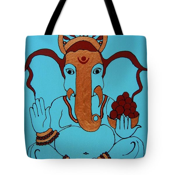 19 Lambakarna-large Eared Ganesha Tote Bag by Kruti Shah