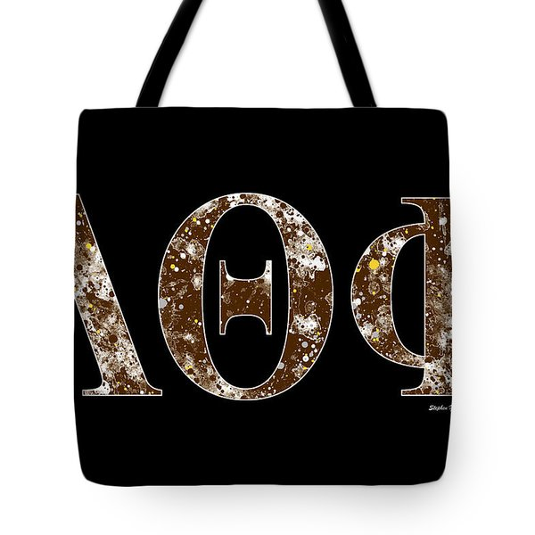 Tote Bag featuring the digital art Lambda Theta Phi - Black by Stephen Younts