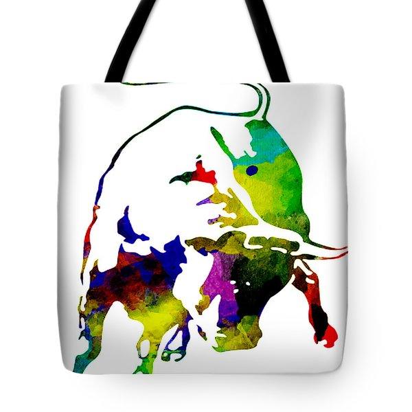 Lamborghini Bull Emblem Colorful Abstract. Tote Bag by Eti Reid