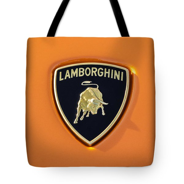 Tote Bag featuring the photograph Lamborghini Emblem -0525c55 by Jill Reger