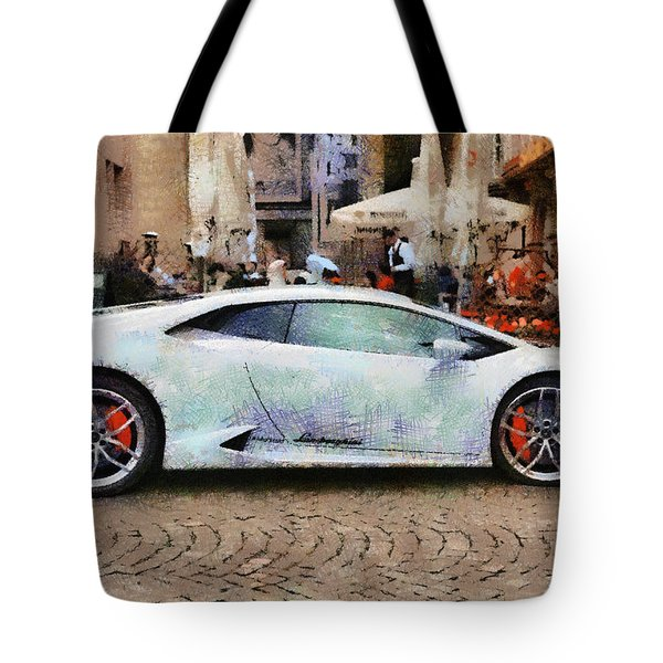 Lamborghini Huracane Lp 610-4 Parked In The City Tote Bag