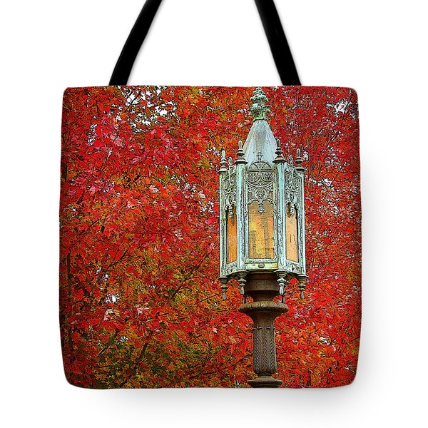 Lamp Post In Fall Tote Bag