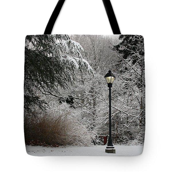 Lamp Post In Winter Tote Bag