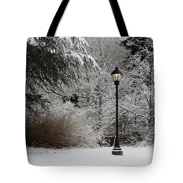 Lamp Post In Winter Tote Bag