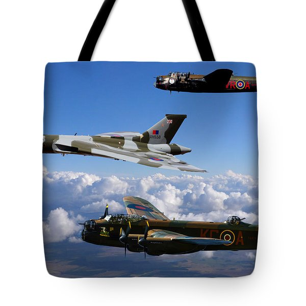 Lancaster Bombers And Vulcan Xh558 Tote Bag