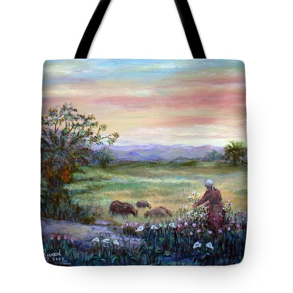 Tote Bag featuring the painting In The Farme  by Laila Awad Jamaleldin