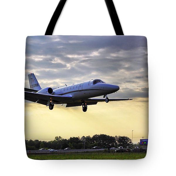 Landing At Sunrise Tote Bag