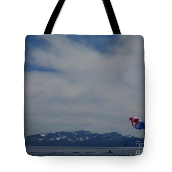 Tote Bag featuring the photograph Parasail Landing by Bobbee Rickard
