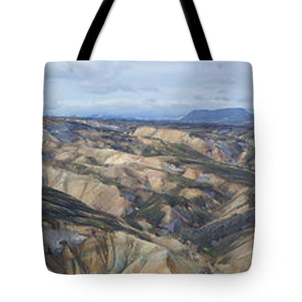 Landmannalaugar Iceland Panorama 2 Tote Bag by Rudi Prott