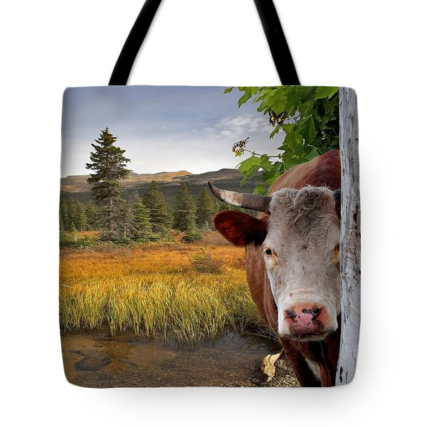 Landscape - Animals - Peek A Boo Cow Tote Bag by Liane Wright
