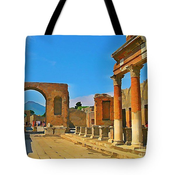 Landscape At Pompeii Italy Ruins Tote Bag by John Malone