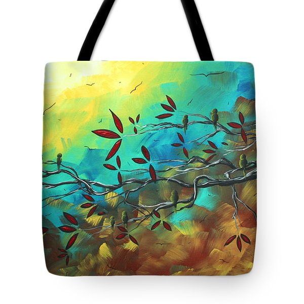 Landscape Bird Original Painting Family Time By Madart Tote Bag by Megan Duncanson