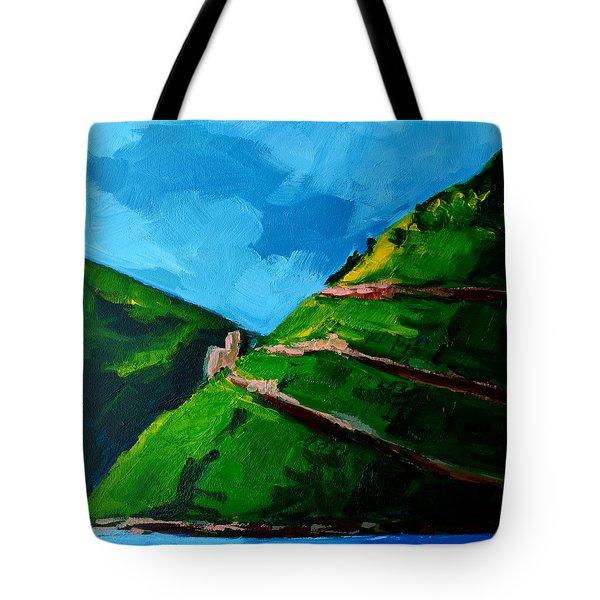 Landscape Castle Along The River Rhine Tote Bag by Patricia Awapara