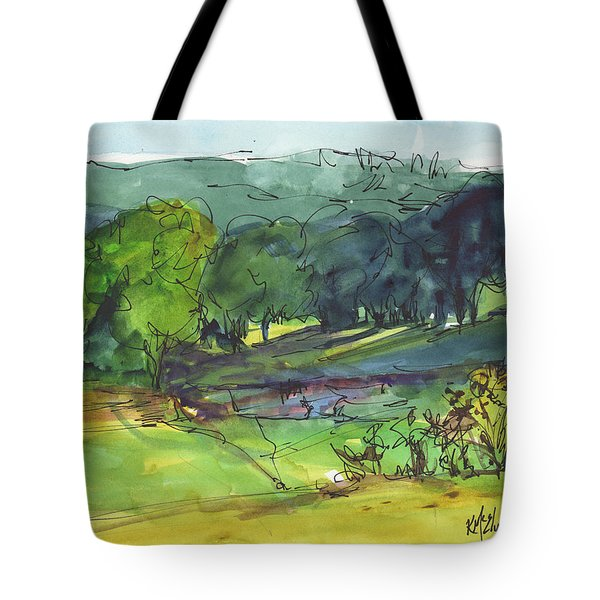 Landscape Lakeway Texas Watercolor Painting By Kmcelwaine Tote Bag