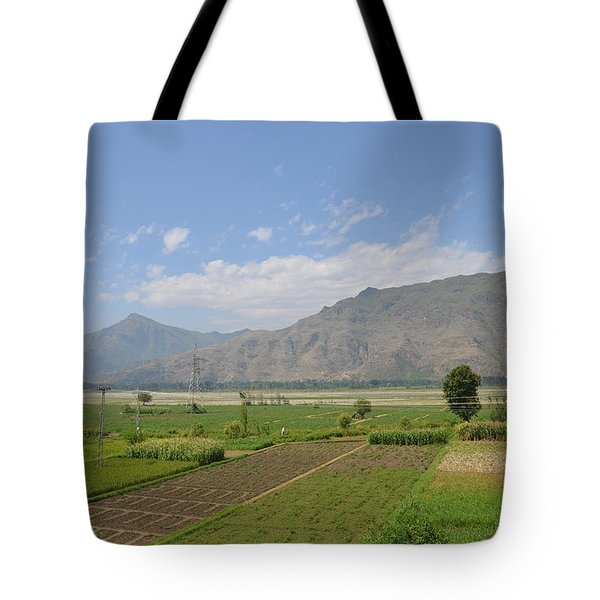 Tote Bag featuring the photograph Landscape Of Mountains Sky And Fields Swat Valley Pakistan by Imran Ahmed