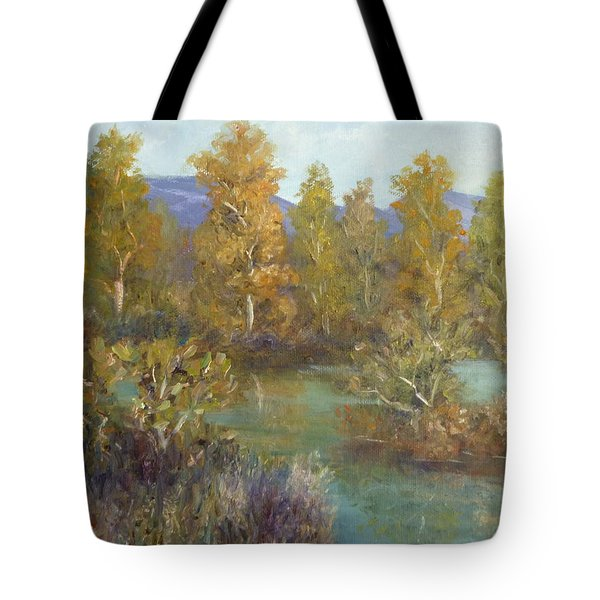 Landscape River And Trees Paintings Tote Bag