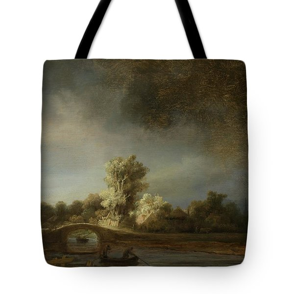 Landscape With A Stone Bridge, C.1638 Oil On Panel Tote Bag