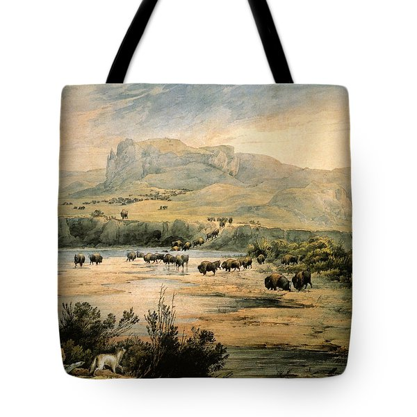 Landscape With Buffalo Ont The Upper Missouri Tote Bag by Karl Bodmer