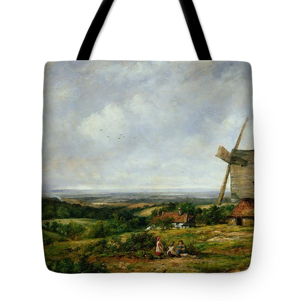 Landscape With Figures By A Windmill Tote Bag by Frederick Waters Watts
