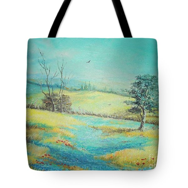 Tote Bag featuring the painting Landscape With Lavanda  by Sorin Apostolescu