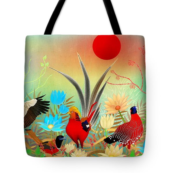 Landscapes With Birds And Red Sun - Limited Edition Of 15 Tote Bag by Gabriela Delgado