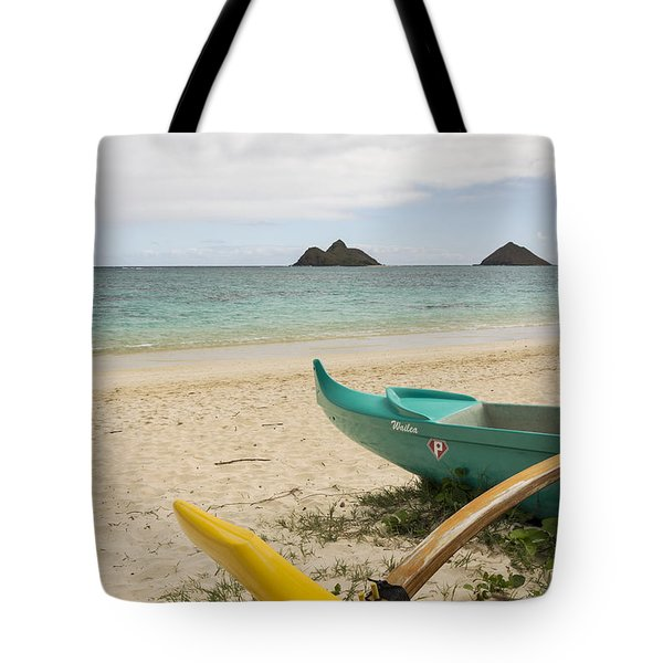 Lanikai Beach Outrigger 2 - Oahu Hawaii Tote Bag by Brian Harig