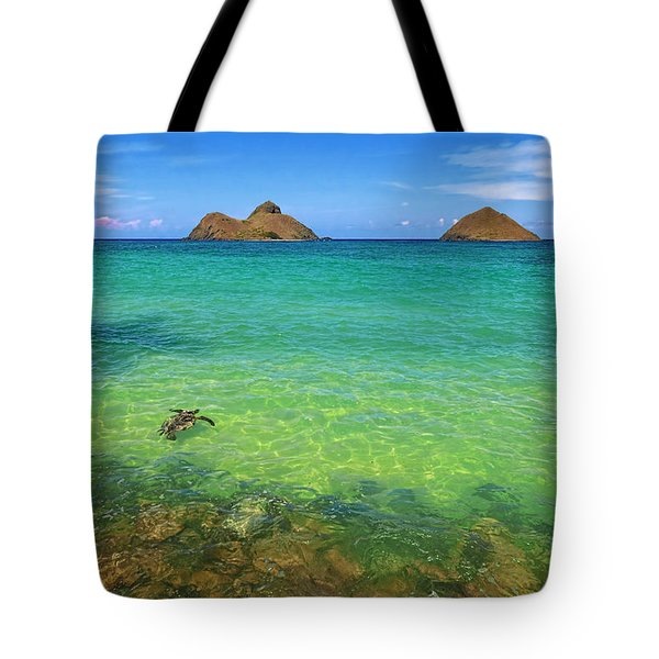 Lanikai Beach Sea Turtle Tote Bag by Aloha Art