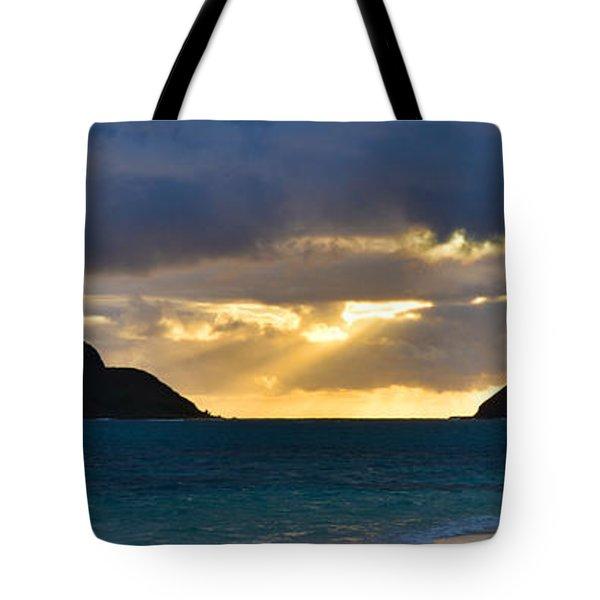 Lanikai Beach Sunrise Panorama 2 - Kailua Oahu Hawaii Tote Bag by Brian Harig