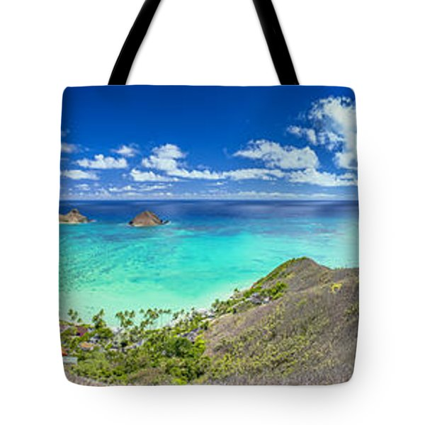Lanikai Bellows And Waimanalo Beaches Panorama Tote Bag by Aloha Art