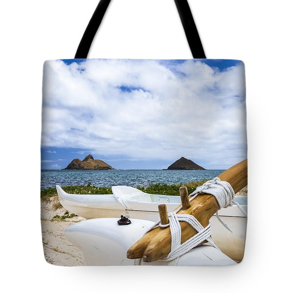 Tote Bag featuring the photograph Lanikai Outrigger 1 by Leigh Anne Meeks
