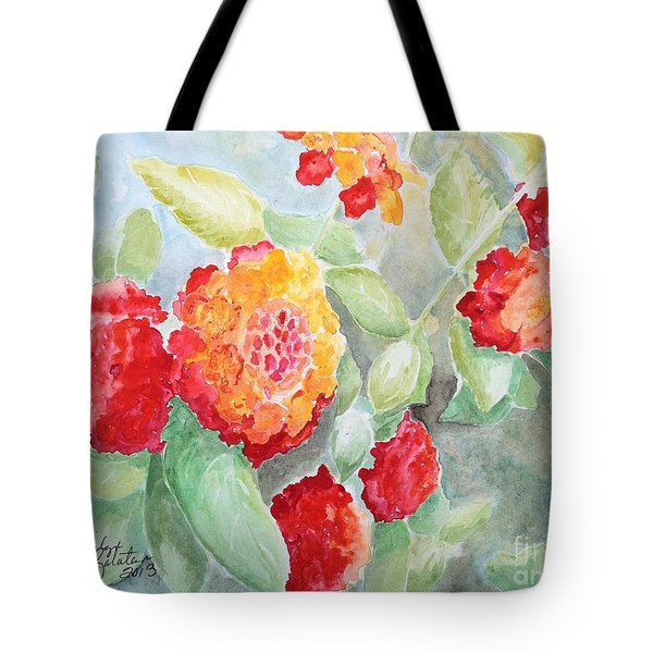 Tote Bag featuring the painting Lantana II by Marilyn Zalatan