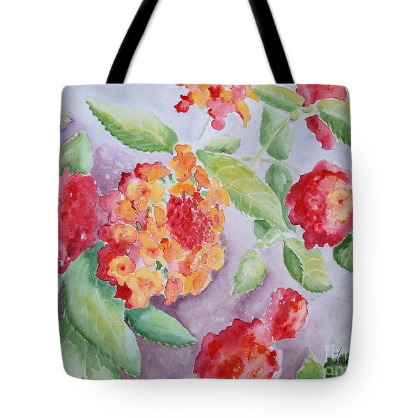 Tote Bag featuring the painting Lantana by Marilyn Zalatan