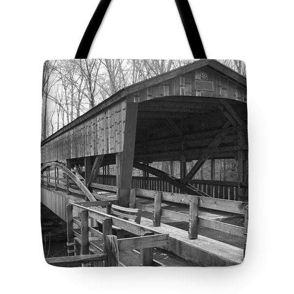 Lanterman Falls Covered Bridge Tote Bag by Guy Whiteley