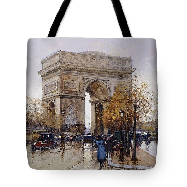 L'arc De Triomphe Paris Tote Bag by Eugene Galien-Laloue