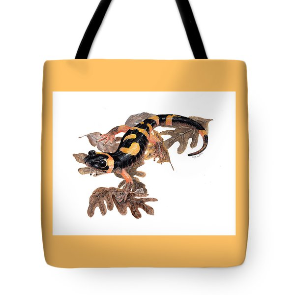 Large Blotched Salamander On Oak Leaves Tote Bag