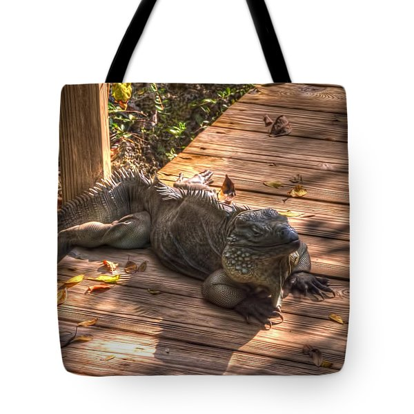 Large Iguana Tote Bag by Dan Friend