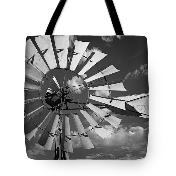 Large Windmill In Black And White Tote Bag