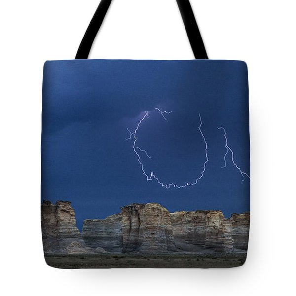 Tote Bag featuring the photograph Lariat Lightning At Monument Rocks by Rob Graham