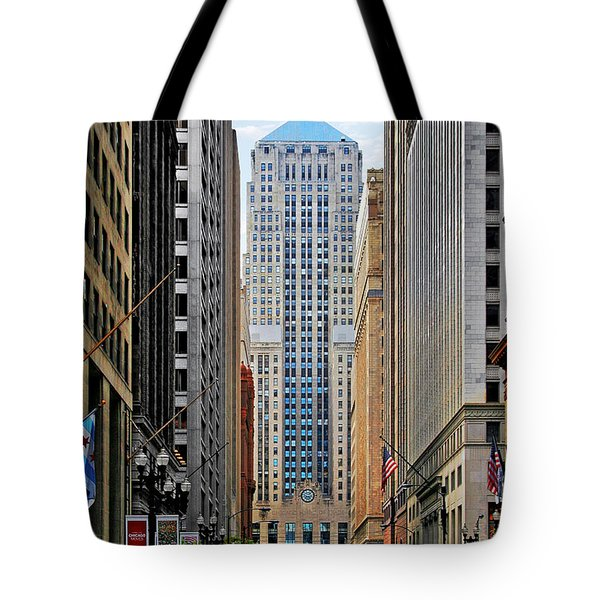 Lasalle Street Chicago - Wall Street Of The Midwest Tote Bag by Christine Till